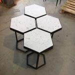 Design bijzettafel salontafel staal en steen