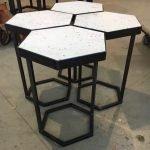 Stalen design tafeltje salontafel bijzettafel staal en steen
